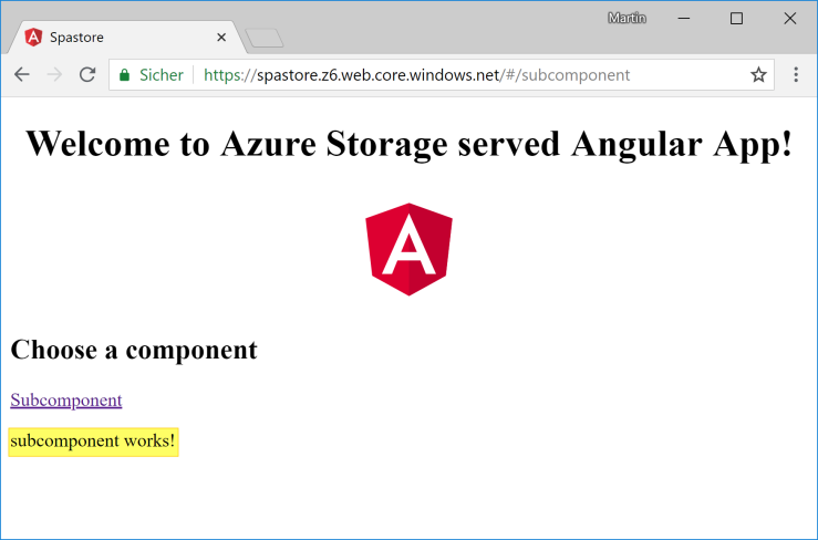 Angular 6 application hosted on Azure Storage Static website – about